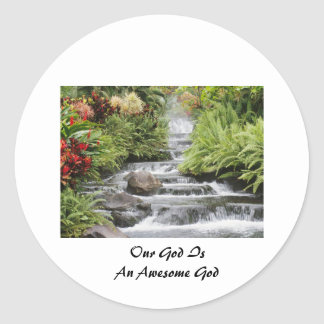 Waterfall - Awesome God Round Stickers
