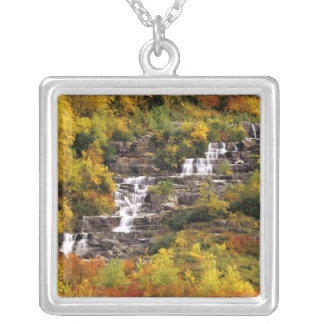 Waterfall below Mt Cannon in Glacier National Silver Plated Necklace