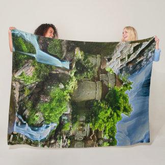Waterfall Castle, Poland Acrylic Art Fleece Blanket