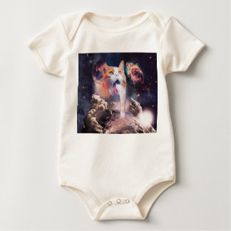 waterfall cat - cat fountain - space cat baby bodysuit