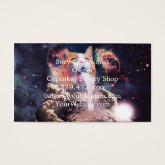 waterfall cat - cat fountain - space cat business card