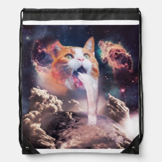 waterfall cat - cat fountain - space cat drawstring bag
