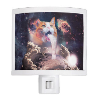 waterfall cat - cat fountain - space cat night lights