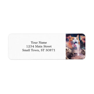 waterfall cat - cat fountain - space cat return address label