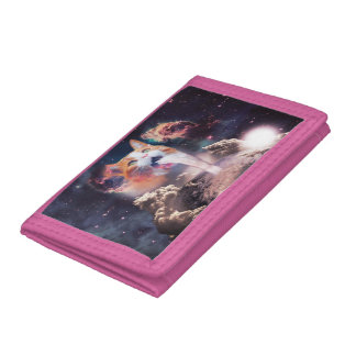 waterfall cat - cat fountain - space cat trifold wallet