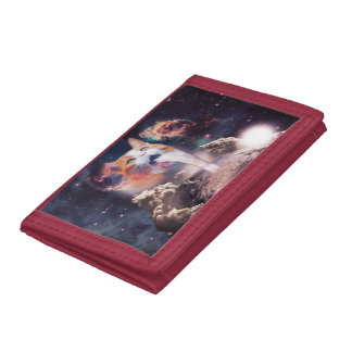waterfall cat - cat fountain - space cat trifold wallets