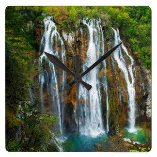 Waterfall elevated view, Croatia Square Wall Clock