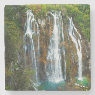 Waterfall elevated view, Croatia Stone Coaster