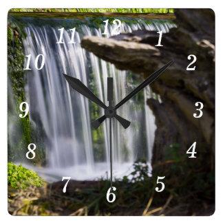 Waterfall Focused Square Wall Clock