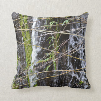 waterfall green moss twigs plant background throw pillow