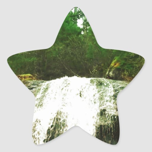 Waterfall in Forest Nature Canada Star Stickers