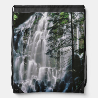 Waterfall in forest, Oregon Drawstring Bag