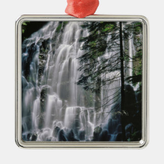 Waterfall in forest, Oregon Silver-Colored Square Ornament
