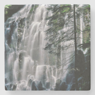 Waterfall in forest, Oregon Stone Coaster
