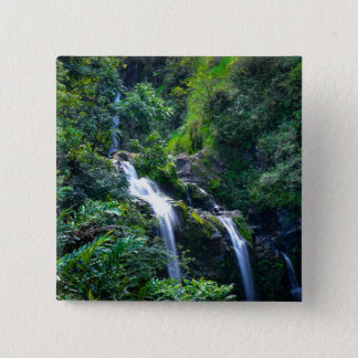 Waterfall in Maui Hawaii 2 Inch Square Button