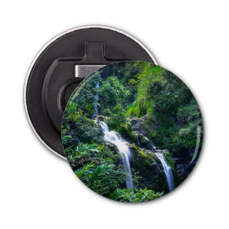 Waterfall in Maui Hawaii Button Bottle Opener