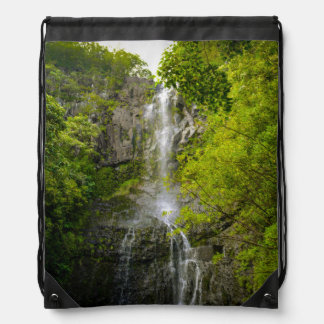 Waterfall in Maui Hawaii Drawstring Bag