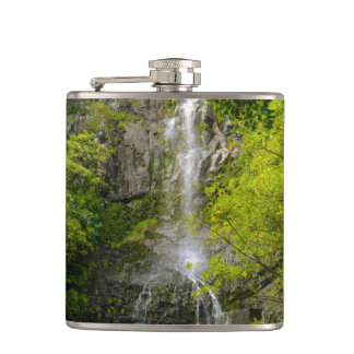 Waterfall in Maui Hawaii Hip Flask