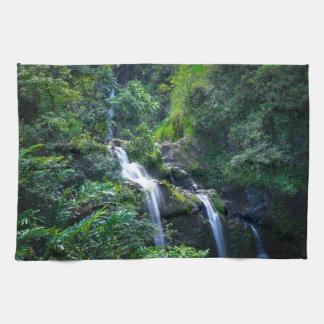 Waterfall in Maui Hawaii Kitchen Towel