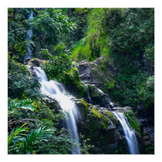 Waterfall in Maui Hawaii Perfect Poster