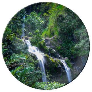Waterfall in Maui Hawaii Plate
