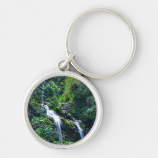 Waterfall in Maui Hawaii Silver-Colored Round Keychain