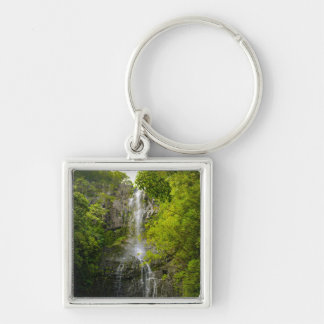 Waterfall in Maui Hawaii Silver-Colored Square Keychain