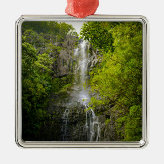 Waterfall in Maui Hawaii Silver-Colored Square Ornament