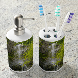 Waterfall in Maui Hawaii Soap Dispenser And Toothbrush Holder