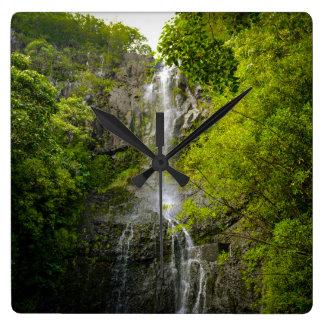 Waterfall in Maui Hawaii Square Wall Clock