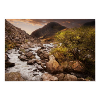 Waterfall In Mountains With Moody Dramatic Poster