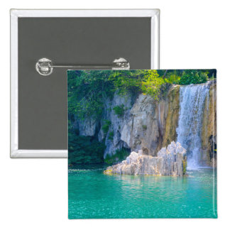 Waterfall in Plitvice National Park in Croatia 2 Inch Square Button