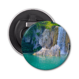 Waterfall in Plitvice National Park in Croatia Button Bottle Opener