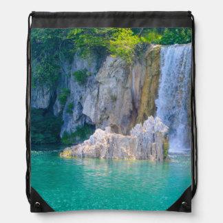 Waterfall in Plitvice National Park in Croatia Drawstring Bag