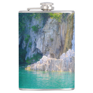 Waterfall in Plitvice National Park in Croatia Flask