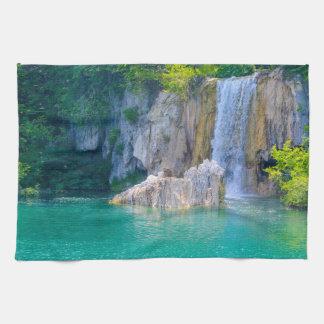 Waterfall in Plitvice National Park in Croatia Kitchen Towel