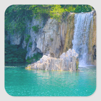 Waterfall in Plitvice National Park in Croatia Square Sticker