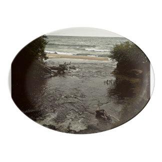 Waterfall in the beach porcelain serving platter