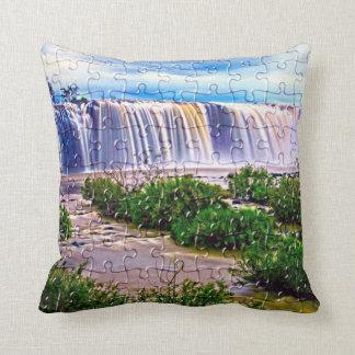 waterfall jigsaw throw pillow