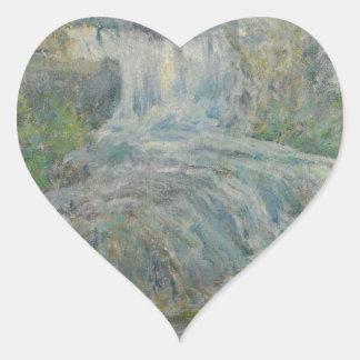 Waterfall - John Henry Twachtman Heart Sticker