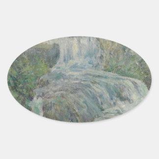 Waterfall - John Henry Twachtman Oval Sticker