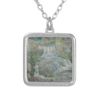 Waterfall - John Henry Twachtman Silver Plated Necklace