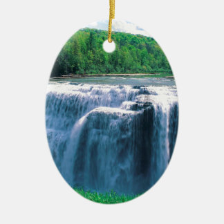 Waterfall Letchworth State Park New York Ceramic Oval Ornament
