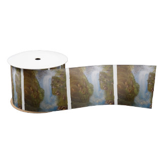 Waterfall Nature Environment Forest Woods Cliffs Satin Ribbon