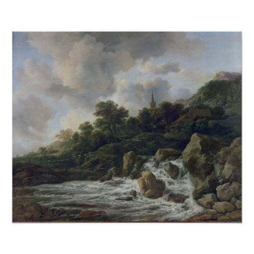 Waterfall Near a Village, c.1665-70 Poster