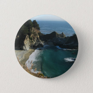 Waterfall Onto Beach Flowing Into Ocean At Big Sur 2 Inch Round Button