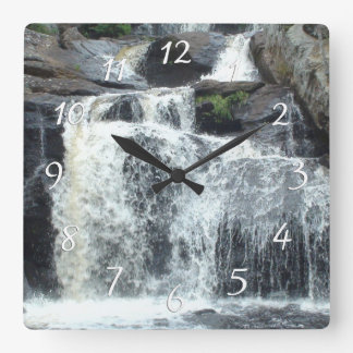 Waterfall Photography Square Wall Clock