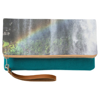 Waterfall Rainbow Fold-over Clutch in Teal
