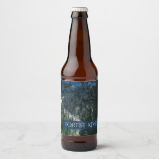 Waterfall River Forest Wilderness Green Landscape Beer Bottle Label