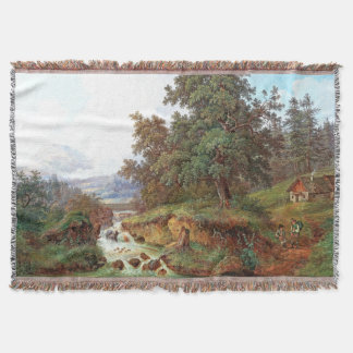 Waterfall River Mountain Cabin Alps Throw Blanket